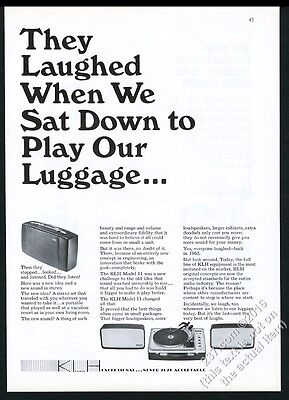 1965 KLH model 11 portable stereo system photo vintage print ad