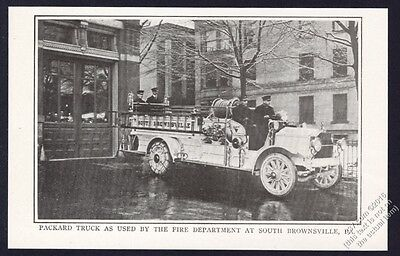 1917 Packard fire engine truck Brownsville Pennsylvania photo vintage article