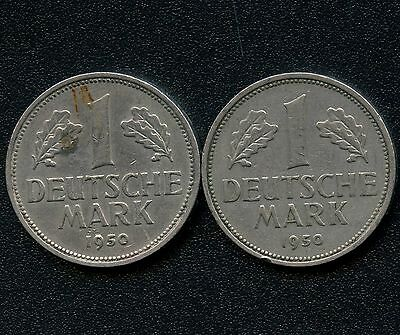 Germany 1950 'D' & 1950 'F' 1 Mark Coins