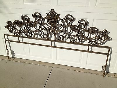 Vintage Hollywood Regency Ornate metal King size headboard