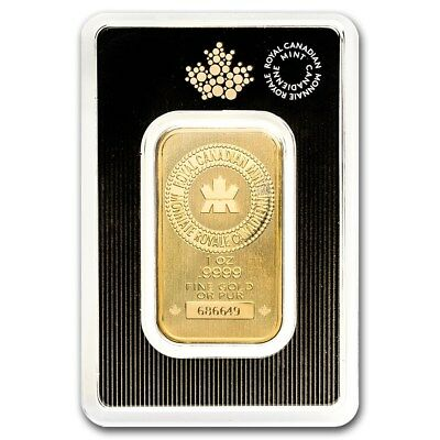 1 Ounce Royal Canadian Mint .9999 Fine Gold Bar 1Oz.
