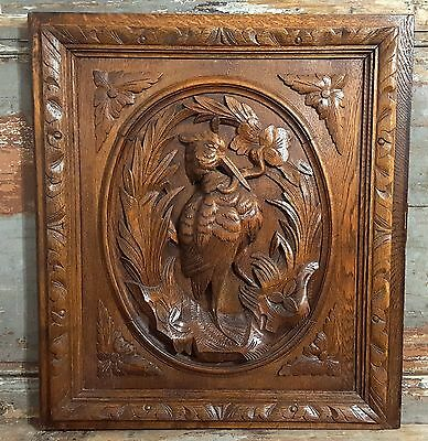 HUNTING COUNTRY CABINET PANEL DOOR ANTIQUE FRENCH CARVED WOOD FURNITURE 19th 1