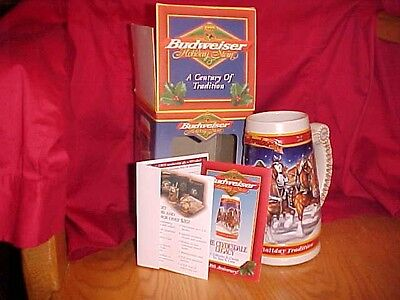 Boxed Budweiser Clydesdale 1999 20th Anniversary Holiday Beer Stein w COA Mint