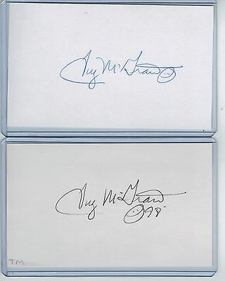 (2) Tug Mcgraw Index Card Signed 1969 Ny Mets 1980 Phillies Psa/dna 1944-2004