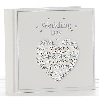 "Wedding Photo Album 6x4"" with silver and gold heart design Gift Boxed"