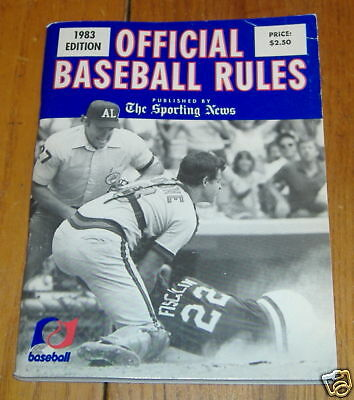 the sporting news offical baseball rules 1983