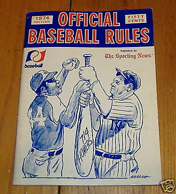 the sporting news offical baseball rules 1974