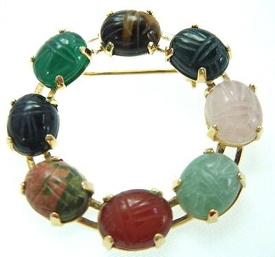 "1 1/2"" Genuine Gemstone Scarab Pin Gold Over Sterling Old Store Stock"