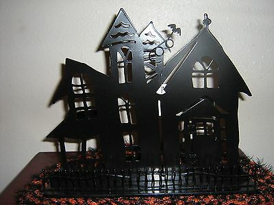Retired Yankee Candle Large Halloween Haunted House Tl Holder Silhouette New!