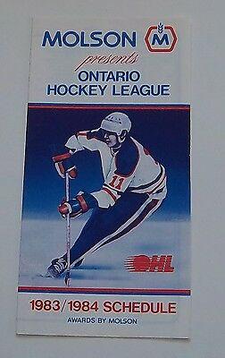 molson OHL schedule  1983-1984  unmarked N-M