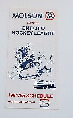 molson OHL schedule  1984-1985  unmarked N-M