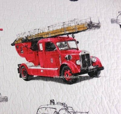 RED TRUCK antique fire truck engine FULL QUEEN QUILT reversible plaid Boy New