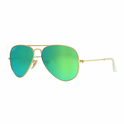 Ray Ban RB 3025 112/P9 58mm Gold Green Flash Lens Polarized Aviator Sunglasses
