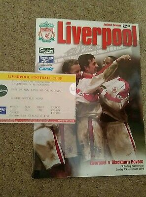 Liverpool v Blackburn Rovers Programme + Used Ticket 1998/99