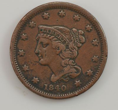 1840 Braided Hair *Small Date* Large Cent *G49