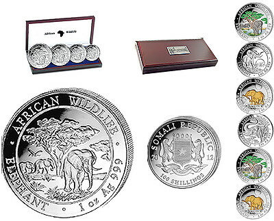 Somalia Elephant  Silver 4-Coin PROOF Set, 2012, COA #77/2000 minted in GERMANY