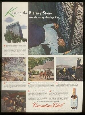 1947 Ireland Blarney Stone kissing photo Canadian Club whisky vintage print ad