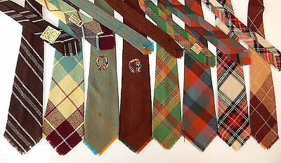 Vtg 1940's LOOMED Spun Knit WOOL Necktie LOT Woven by INDIANS FAT WIDE Neck Ties