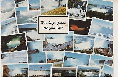 Niagara Falls. Greetings.. 1989 postcard in GC. Written and Posted. Multi-view