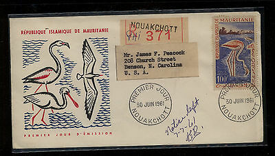 Mauritania C14  on   cachet registred first day cover  1961       MS0701