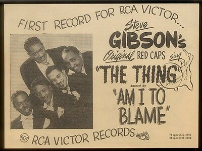 1950 Steve Gibson and the original Red Caps photo The Thing!   trade ad