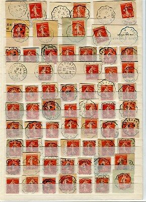 FRANCE early 1900s fine LARGE TPO POSTMARK ACCUMULATION many on piece