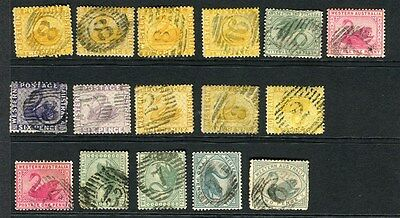 WESTERN AUSTRALIA;  1880s-90s Swan types fine used NUMERAL CANCELS lot