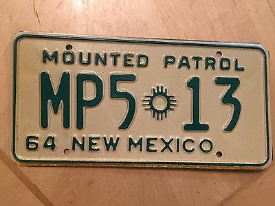 """1964  New Mexico Mounted Patrol License Plate """" Mp5 13 """" Nm 64 Police Horse"""