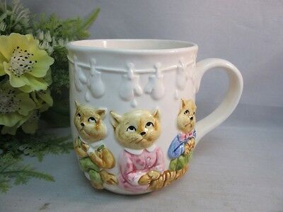 Vtg 1982 child's mug.3 little kittens w/ mittens.Once Upon a Time Quon Japan