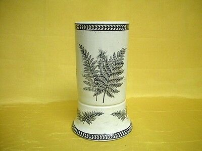 Antique Ironstone China Toothbrush Holder Fern Leaf Black Transferware Old Mint