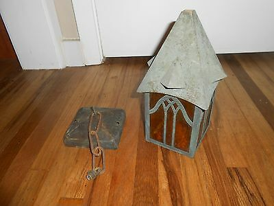 Antique Arts & Crafts Gothic Mission Bungalow Hanging Porch Hall Light Fixture