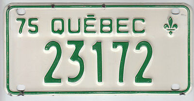 1975 Quebec Canada Small License Plate 23172