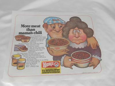 Old Vtg 1980 WENDY'S FAST FOOD RESTAURANT  PLACEMAT Advertising
