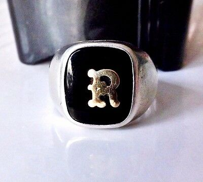 Old Mens Art Deco Sterling Silver Intial R Onyx Sz 9 Clark & Coombs Signet Ring