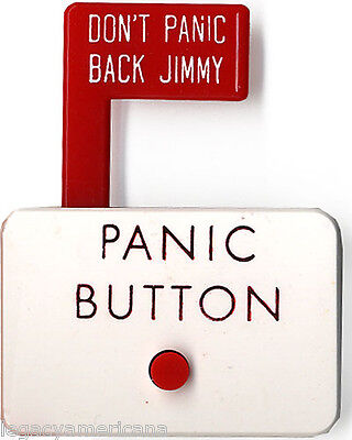 Unusual 1976 Jimmy Carter PANIC BUTTON Novelty Campaign Badge (4346)