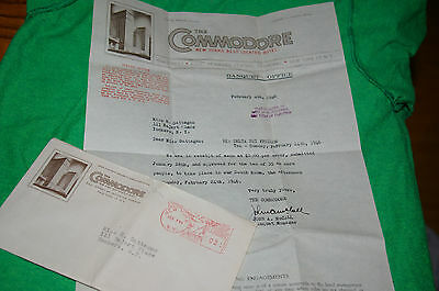 February 4 1946 The Commodore Hotel New York City Letter Envelope Stationary