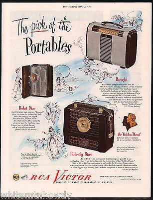 1948 RCA Portable Radio AD Globe Trotter, Personal, one unnamed shown w/ prices