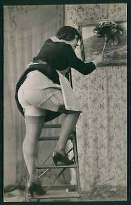 Erotic photo Big Butt maid dust  french risque sexy near nude old 1920s postcard