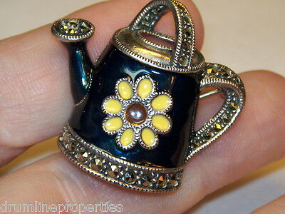 Sterling Silver Estate Judith Jack Marcasite Sunflower Watering Can Pin Brooch