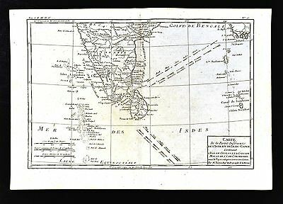1779 Bonne Map - Ceylon Maldives South India Malabar Coast Goa Madras Rajapur