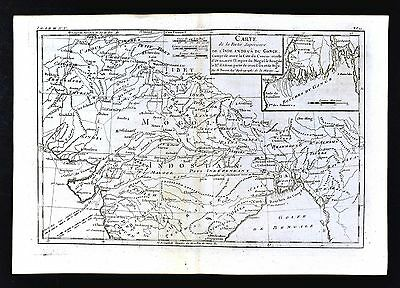 1779 Bonne Map - North India Nepal Pakistan Bengal Calcutta Bombay Ganges River