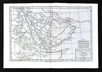 1779 Bonne Map - Middle East Egypt Arabia Mecca Jeddah Oman Bahrain Persian Gulf