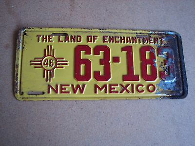 "1946 New Mexico Passenger License Plate "" 63 183 "" Nm 46 All Original Condition"