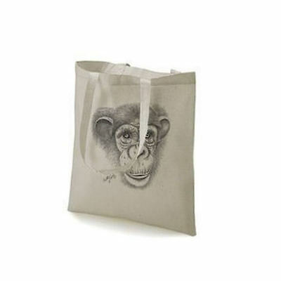 Monkey Chimpanzee Face Design Printed Tote Shopping Bag 100% Cotton