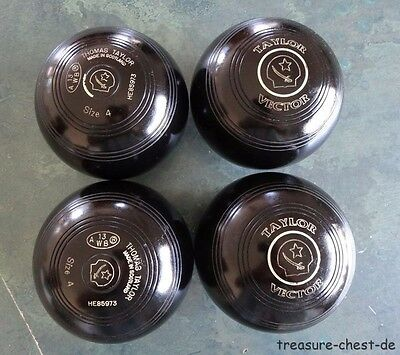 Thomas Taylor VECTOR Lawn Bowls * Size 4 H * BLACK * Sword   Motif, Stamped 13