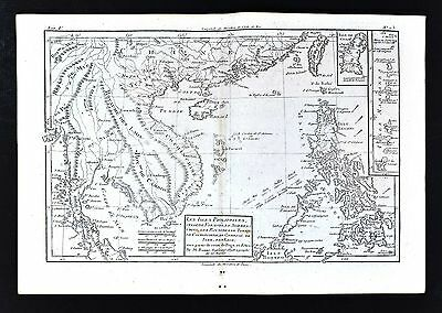 1779 Bonne Map - SE Asia & Philippines - Cambodia Siam Vietnam China Taiwan Guam