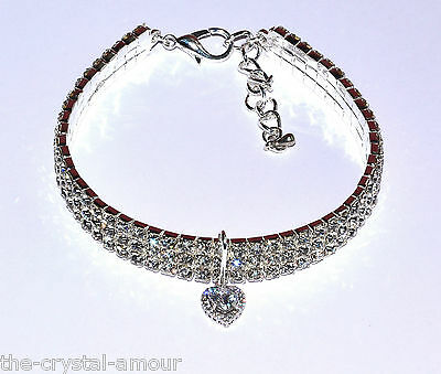 Designer Rhinestone Heart Collar ~ Kitten Cat ~ Showing, Crystal Elasticated