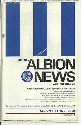 WEST BROM v R.F.C.BRUGES, EUROPEAN CUP WINNERS CUP, 1st ROUND 2nd LEG - 02/10/68
