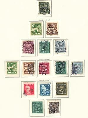 SWEDEN  :  1920/1  16 Used Stamps Various Perforations