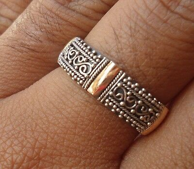 925 Sterling Silver-RL103-Balinese Handcrafted Ring & Gold 22kt Size 7